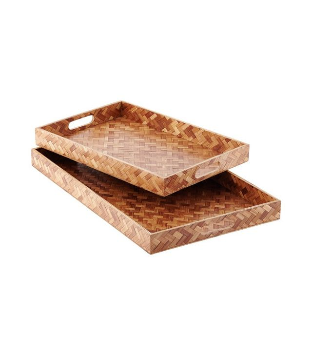 The Container Store Herringbone Bamboo Trays