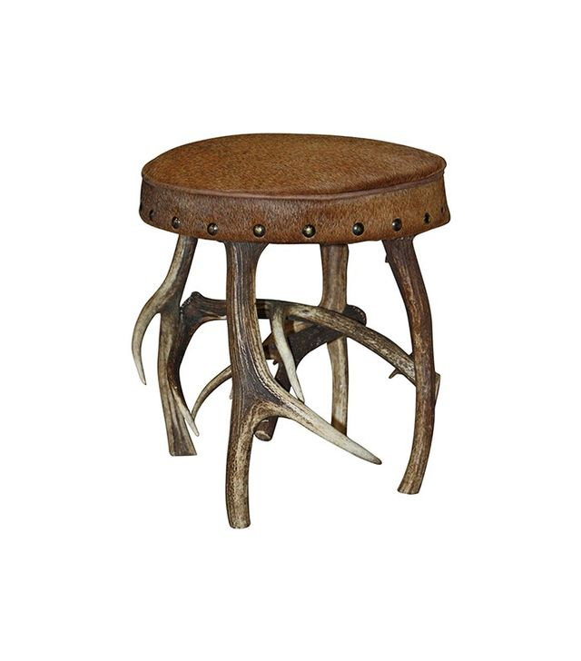 Vintage Stag Horn Based Stool with Hide Upholstery