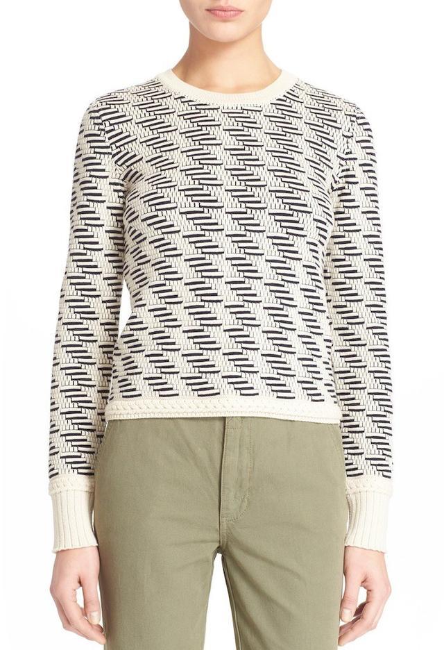 Tory Burch Geometric Jacquard Wool Pullover
