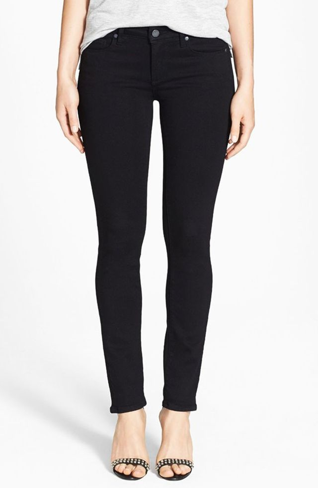 Paige Denim Transcend Skyline Skinny Jeans in Black Shadow