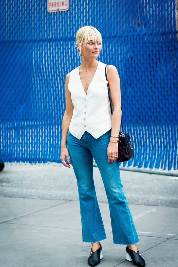 cropped flare jeans outfit