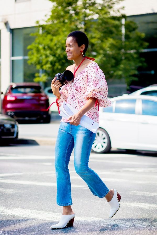 cropped flare jeans and mules