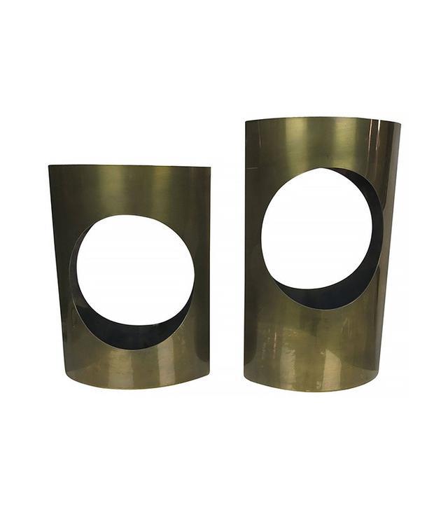 Antiques du Monde Mismatched Pair of Modernist Pointed Oval Vases