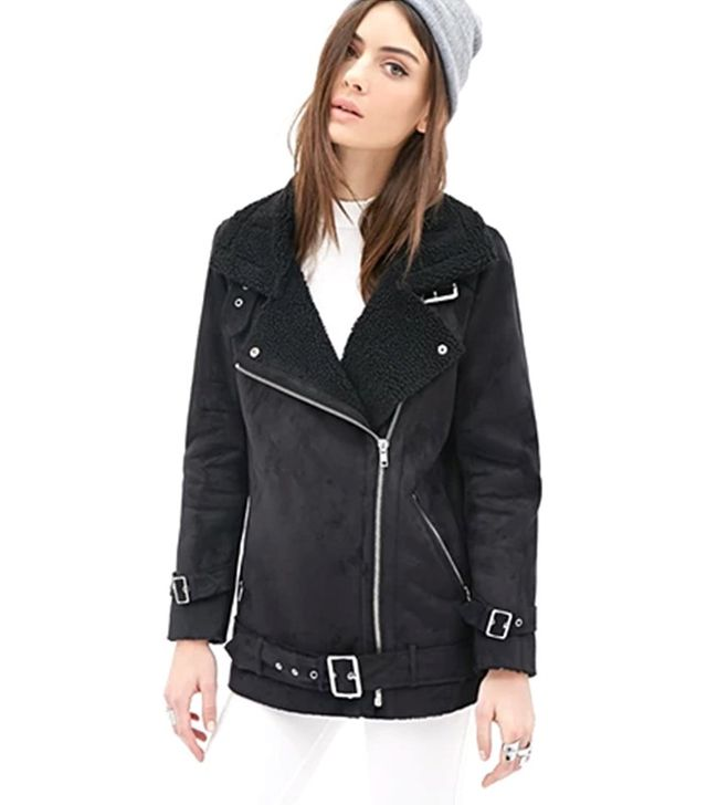 Forever 21 Faux Suede Aviator Jacket