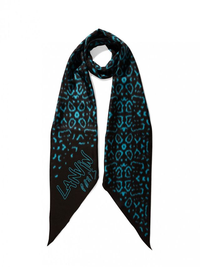 Lanvin Leopard Print Washed-Silk Scarf