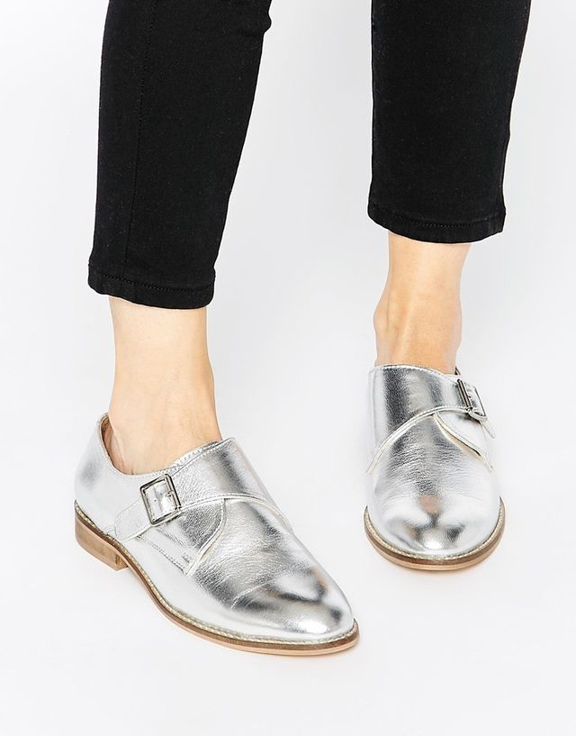 ASOS Moss Wide Fit Leather Flat Shoes