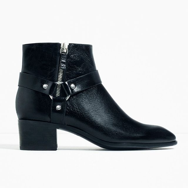 Zara Leather High Heel Ankle Boots With Detail