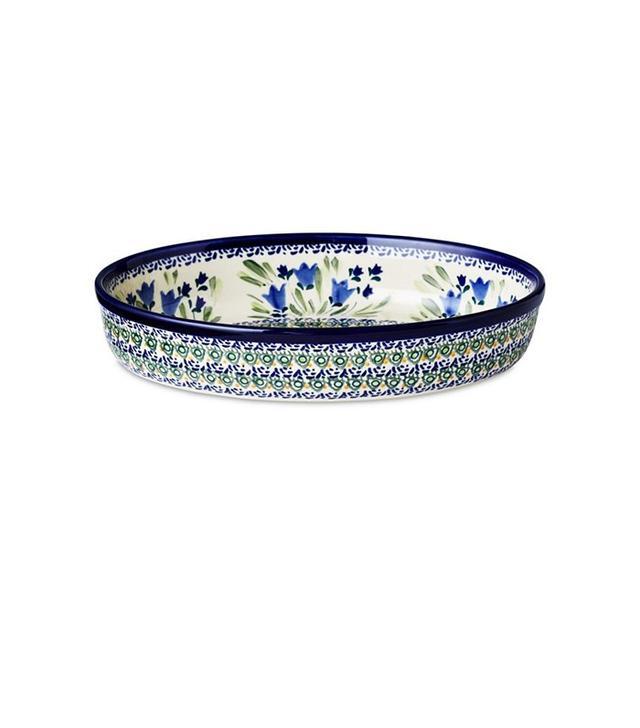 "Polish Pottery 11"" Oval Baking Dish, Bluebell"