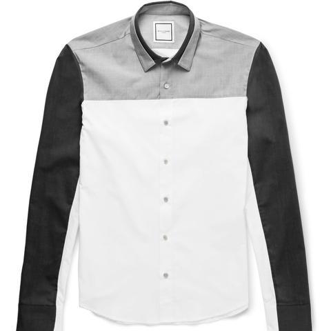 Slim-Fit Panelled Cotton Shirt