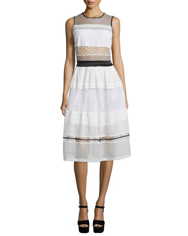 Kendall + Kylie Sleeveless Pierced Mixed-Lace Dress