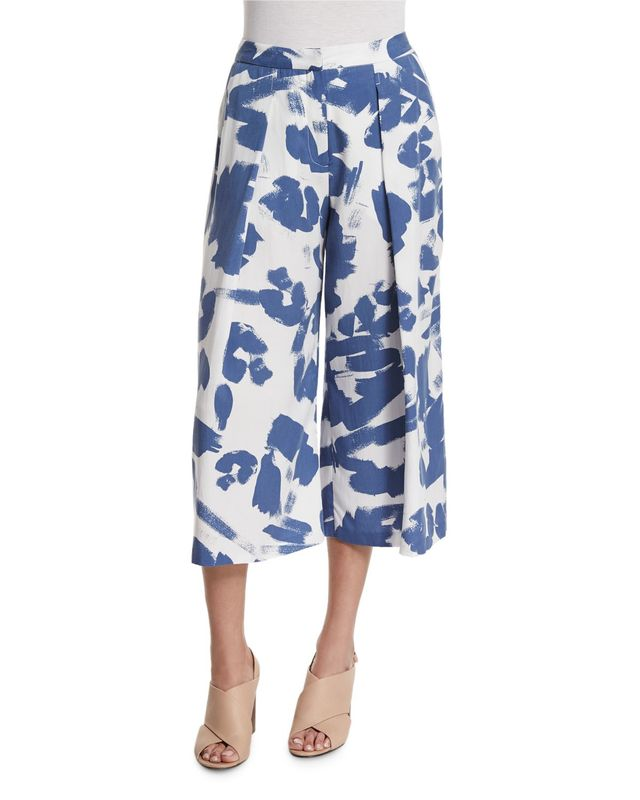 Kendall + Kylie Pleated-Front Printed Culottes