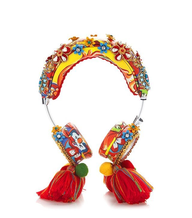 Dolce & Gabbana Crystal And Bead Embellished Headphones With Tassels
