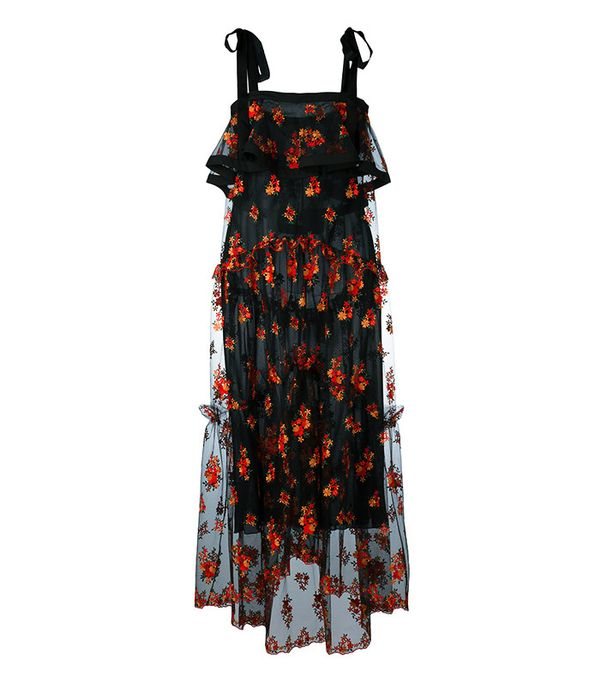 Philosophy Di Lorenzo Serafini Floral Embroidery Sheer Dress