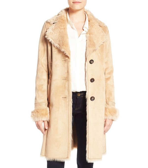 Belle Badgley Mischka Faux Shearling Lined Coat