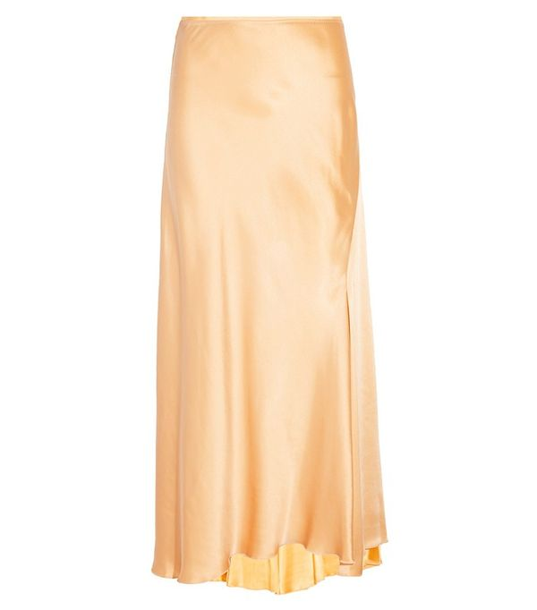 Galvan Bias-Cut Satin Skirt