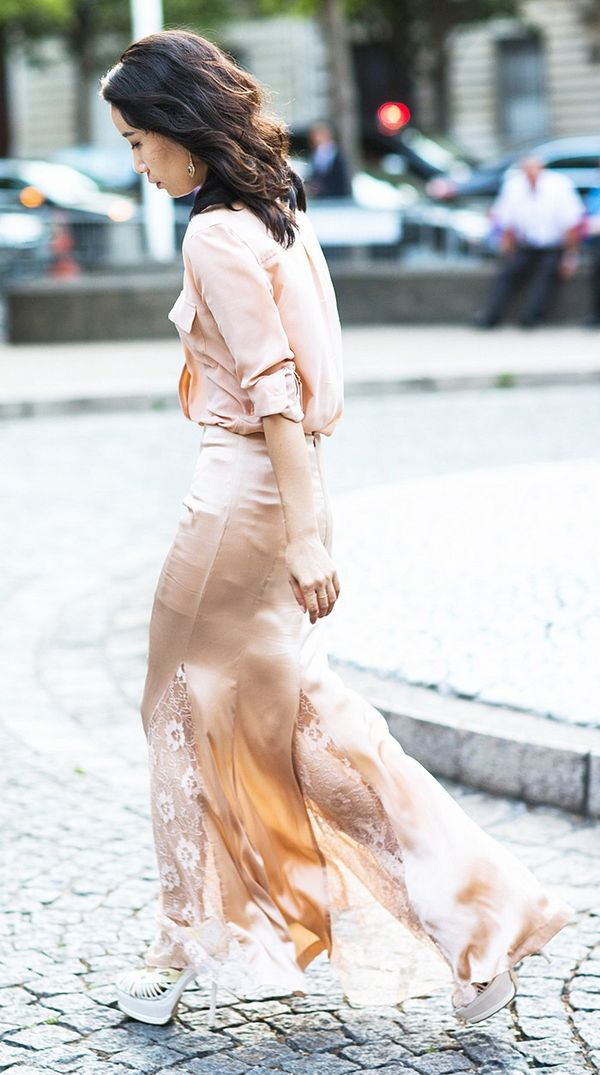 Blush-Pink Top + Silk Maxi Skirt + White Heels