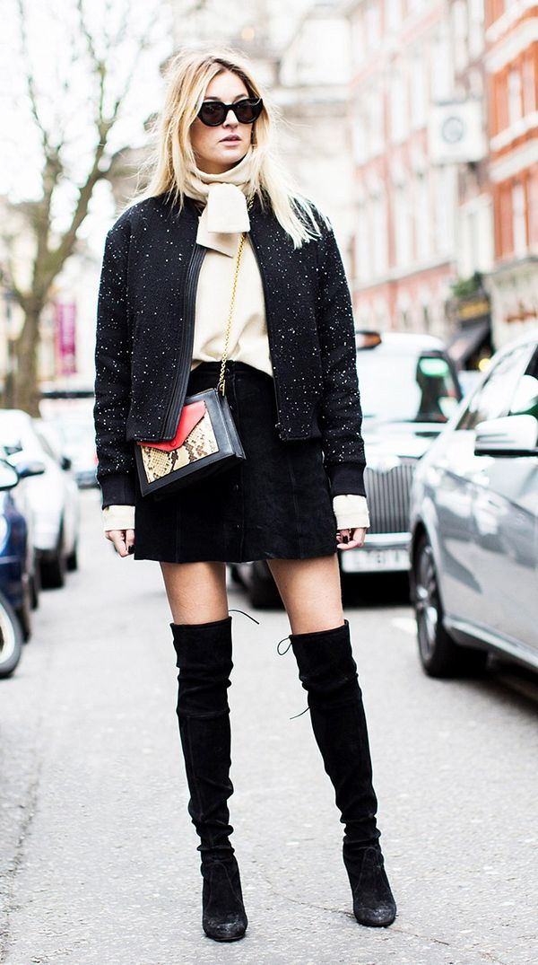 Tweed Jacket + Miniskirt + Over-the-Knee Boots
