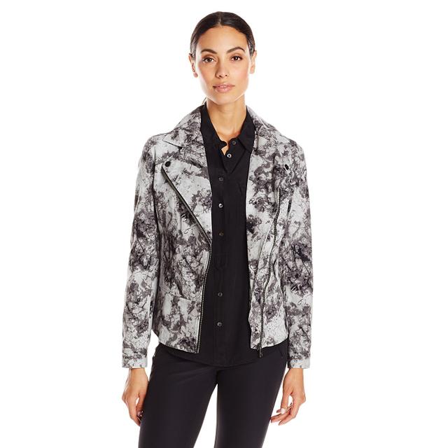 DKNY Jeans Women's Marble Batik Print Biker Jacket