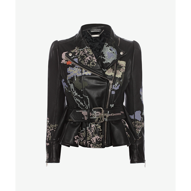 Alexander McQueen Embroidered Leather Moto Jacket
