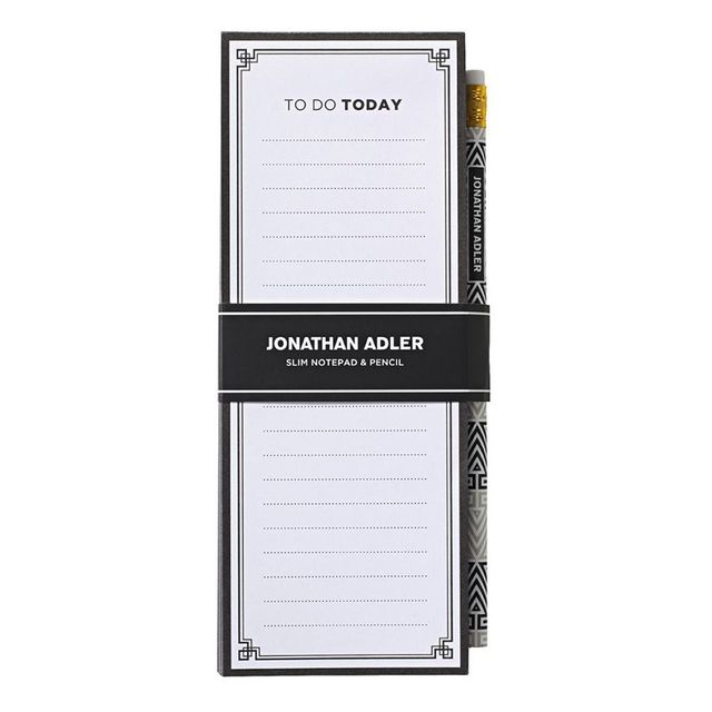 Jonathan Adler Slim Notepad with Pencil Black