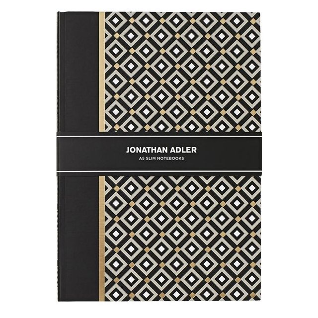 Johnathan Adler A5 Notebook 30 Page Black 2 Pack