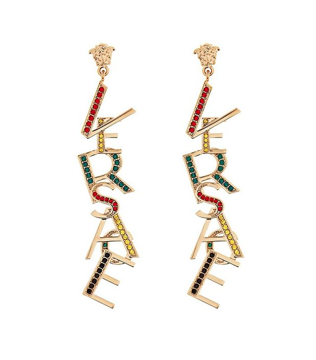 Versace Crystal-Embellished Logo Earrings