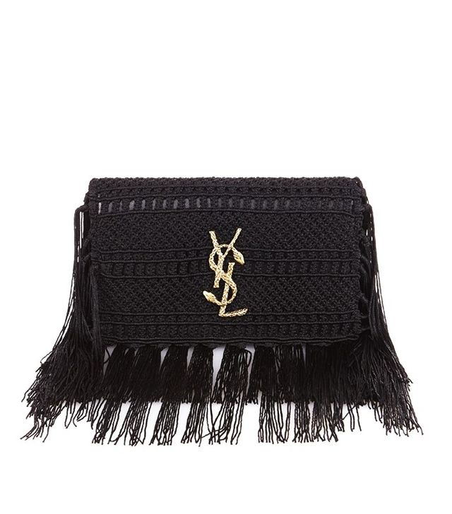 Saint Laurent Monogram Serpent-Logo Crochet Clutch