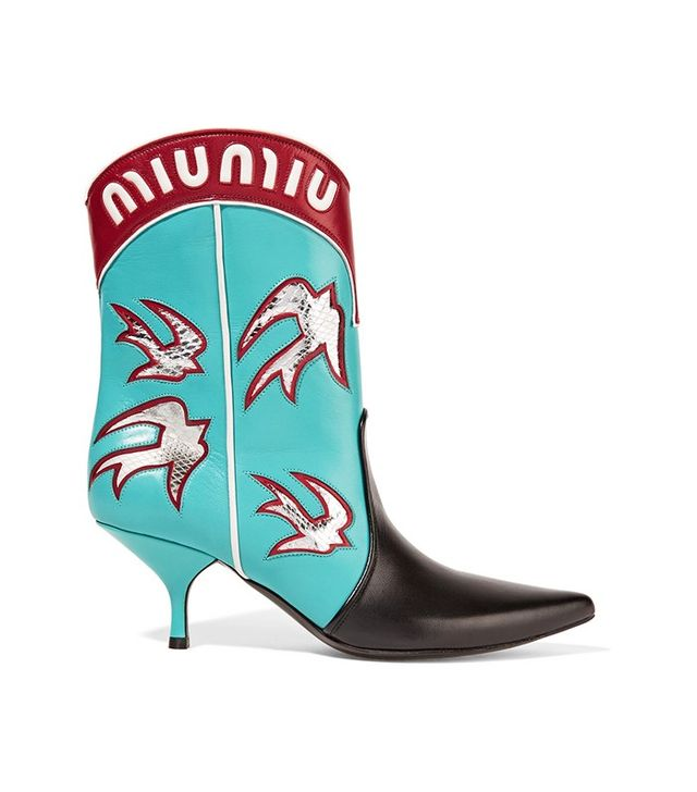 Miu Miu Ayers Appliqued-Leather Boots