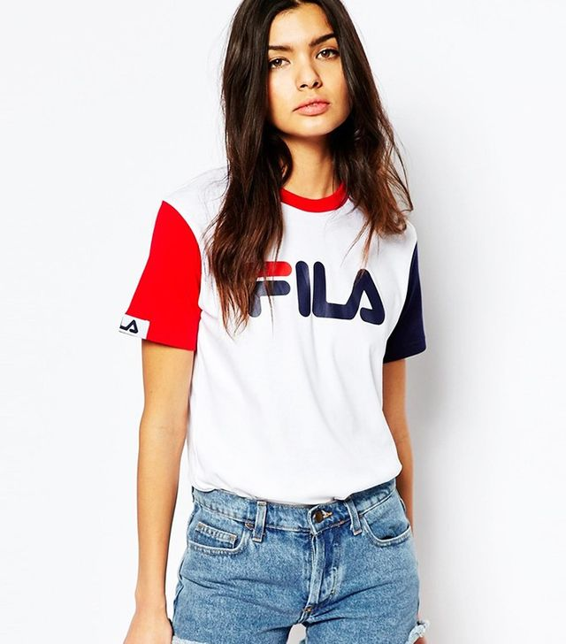 Fila Basic T-Shirt With Logo Detail & Colourblock