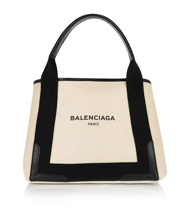 Balenciaga Cabas Leather Trimmed Tote