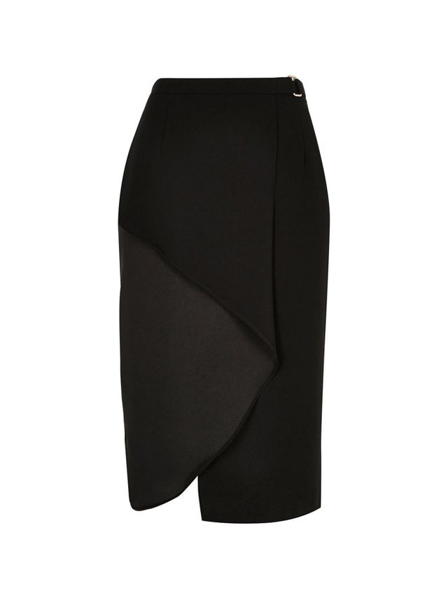 River Island Black Frilly Wrap Front Skirt