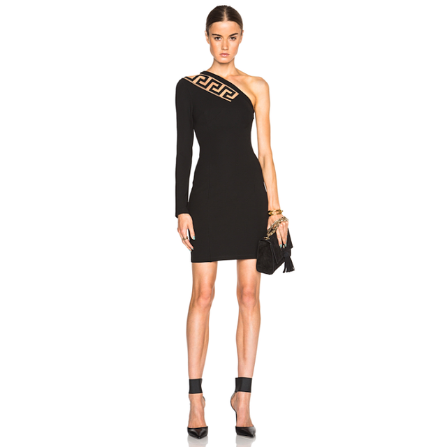 Versace Versus One Shoulder Jersey Dress With Cutout