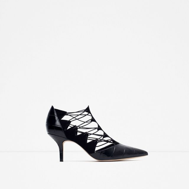 Zara High Heel Leather Shoes With Straps