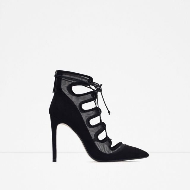 Zara Lace-Up Heeled Shoes With Mesh Detail