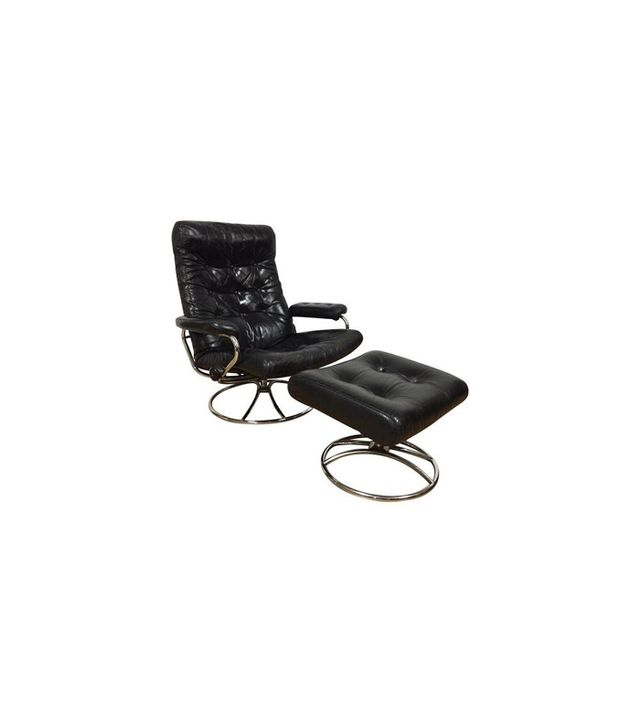 Ekornes Black Leather Lounge Chair and Ottoman