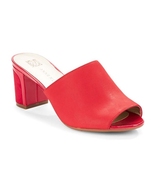 Anne Klein Carena Open-Toe Leather Mules