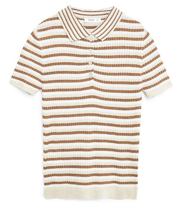 Mango Ribbed Metal Polo Shirt