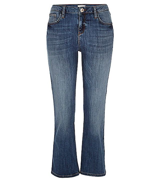 River Island Mid Wash Denim Cropped Kick Flare Jeans