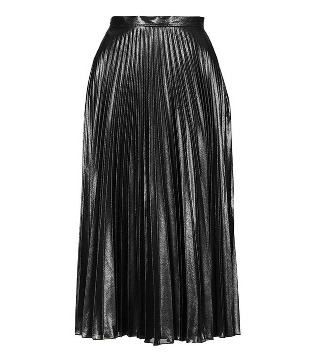 Topshop Metallic Pleat Midi Skirt