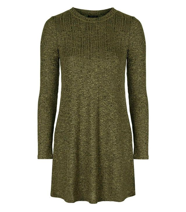 Topshop Long Sleeved Flippy Rib Tunic Dress