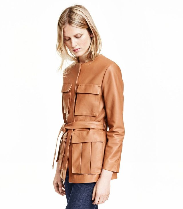 H&M Leather Jacket With Tie Belt
