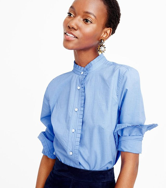 J. Crew Ruffled Button-Down Shirt in End-on-End Cotton