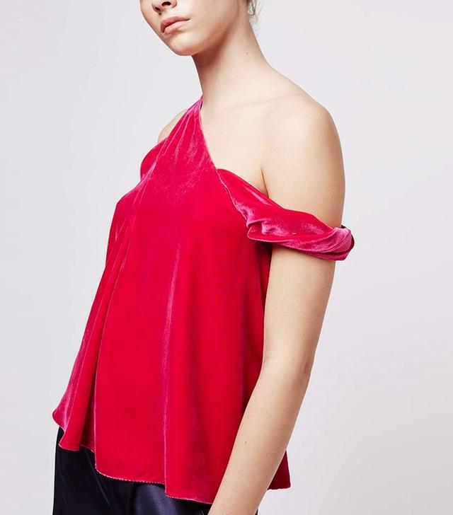 Boutique by Topshop Velvet Asymmetric Twist Top