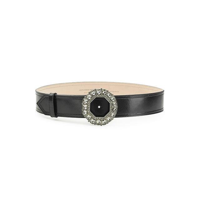 Alexander McQueen Leather Belt With Jewel Buckle