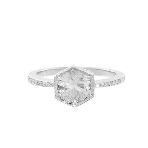Black and White Diamond Hexagonal Bezel Ring