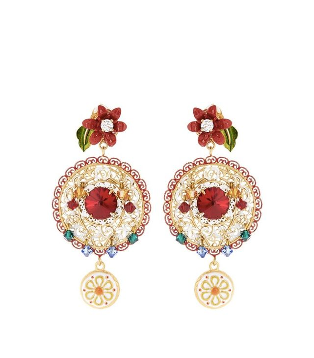Dolce & Gabbana Filigree Embellished Hoop Earrings
