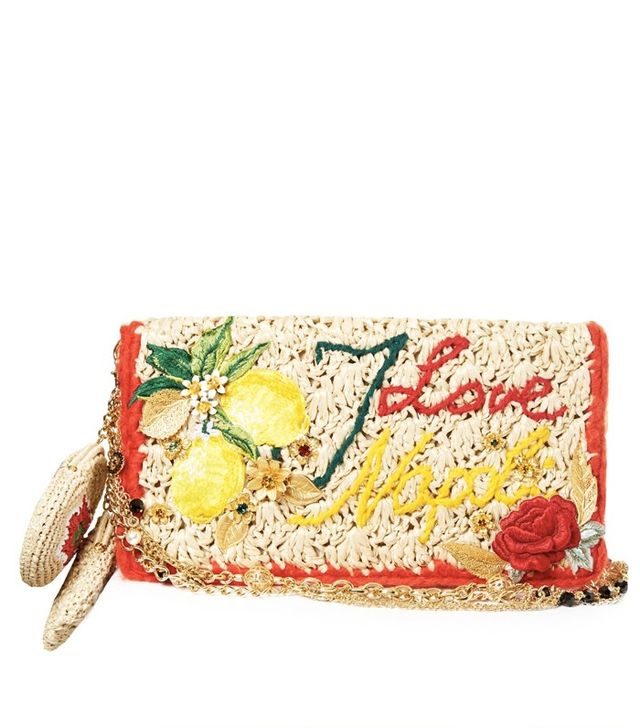 Dolce & Gabbana Rosa Embroidered Raffia Bag