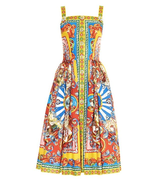 Dolce & Gabbana Carretto-Print Poplin Midi Dress