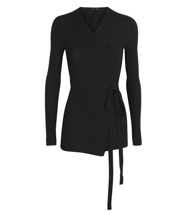 Proenza Schouler Black Fine-Knit Wool Blend Wrap Cardigan