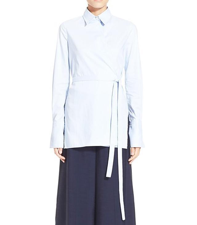 Rosetta Getty Stripe Cotton Broadcloth Wrap Shirt